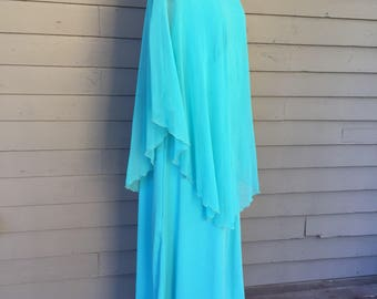 Chiffon and Knit V-Neck Empire Waist Maxi Dress Size Large to Extra Large