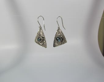 Item 4258 - Abstract Textured Lightweight Fine and Sterling Silver Earrings with Genuine Beautiful Paua Shell