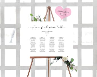 Wedding Seating Chart- Seating Chart Template- Wedding Seating Plan- Seating Chart Poster-Seating Chart Alphabetical-Printable Seating Chart