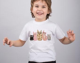 Funny Cats Shirt for Kids Cat Shirt Funny T Shirt Girls Clothing Graphic Youth Tee Shirt Animal Shirt Animal Print Teens Clothing PA1241