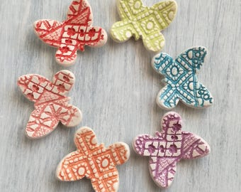 Ceramic favors-Ceramic magnet-Baptism favors-wedding favors-butterflies-fridge magnets-miniatures-Home Decor