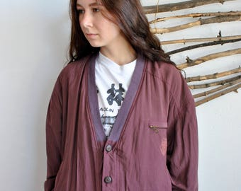 Red bomber jacket 90s 80s Vintage womens wmns Unisex Retro Casual jacket Autumn Spring Every day coat Slik Bomber Hipster Outfit