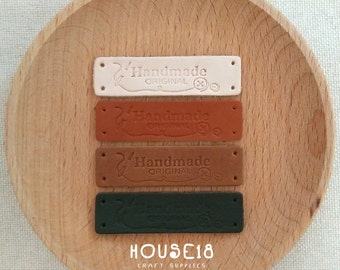 20 PCS Genuine Leather Label Real Leather Label with Holes | Natural / Orange Brown / Brown / Darkest Brown