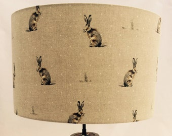 Hand made rolled-edge 'Hares & Polka Dots' fabric lampshade (last one *lamp fitting only)