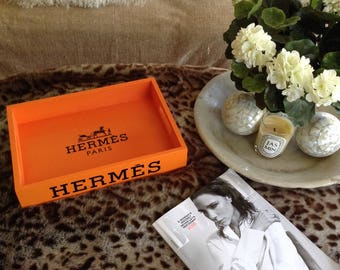 Hermes Paris orange rectangular tray