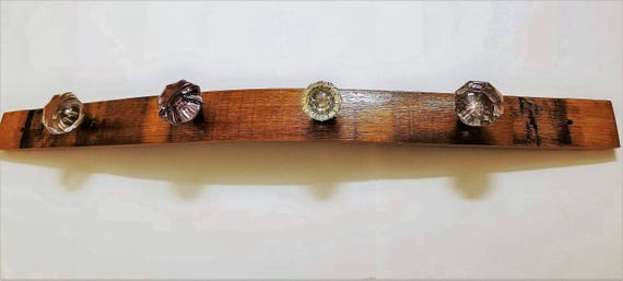 Coat Rack - Wine Barrel Stave Wood with Vintage Glass Door Knob Handles