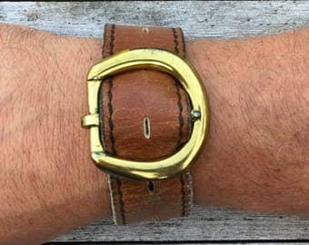Genuine Brown Leather Cuff with Brass Buckle
