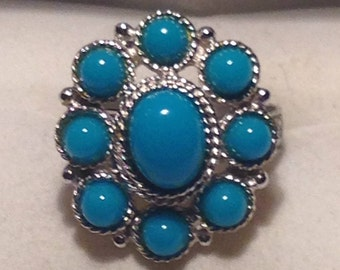 Vintage Sarah Coventry Silvertone and Turquoise Ring