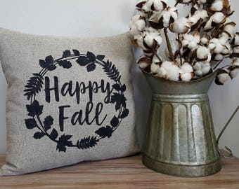 Happy Fall Wreath//Hand Painted//Faux Linen//Pillow//Fall Decor//Home Decor//Insert Included//Throw Pillow