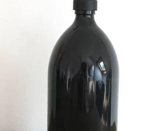 Black Gloss Glass Soap Dispenser 1000ml Bottle With Stainless Steel Pump