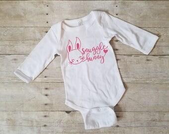 Snuggle Bunny Onesie, My 1st Easter Onesie, Cute Easter Onesie, Baby Easter Onesie, Easter Bunny Shirt, Baby Girl Easter Shirt