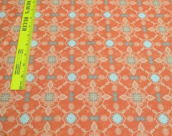 Orange and Gray Designed Cotton Fabric