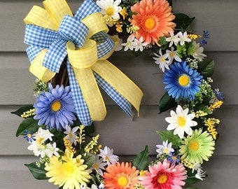 Spring Wreath for Front Door, Daisy Wreath,  Spring Wreath, Summer Wreath, Flower Wreath, Floral Wreath, Multi Color Daisy Wreath, Floral