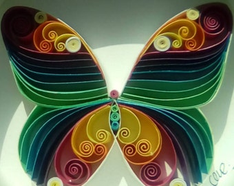 """Quilling paper art design: """"Rainbow butterfly"""""""