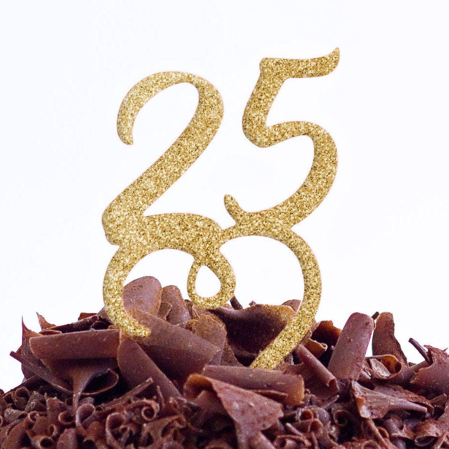 25 Cake Topper 25th Cake Topper 25 Birthday Party Cake Topper
