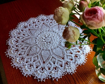 Crochet Doily; Pineapple Song Doily; White Doily; Round Doily; 20 Inches Round Doily; Free domestic shipping