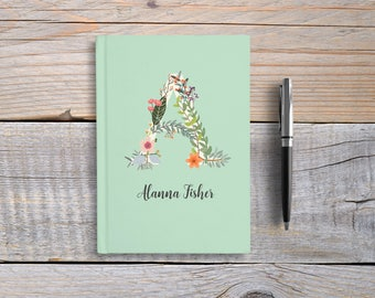 Custom Monogram journal, Writing Journal, Personalized Notebook hardcover, floral initial name book, black or white, Blank or Lined pages