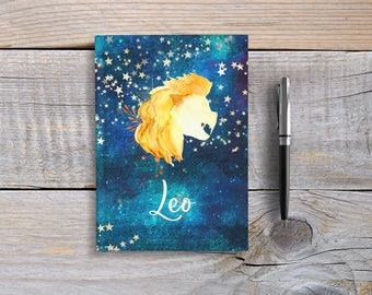 Writing Journal, Hardcover Notebook, Sketchbook, Zodiac Sign, Astrology, Unique Gift Under 20, Blank or Lined Pages - Leo