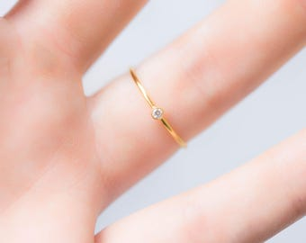 Thin dainty ring, Trendy Gold Ring, Delicate Stacking Ring, Simple Gold Ring, Tiny Diamond Ring, Gold Filled Ring, Cubic Zirconia Ring,