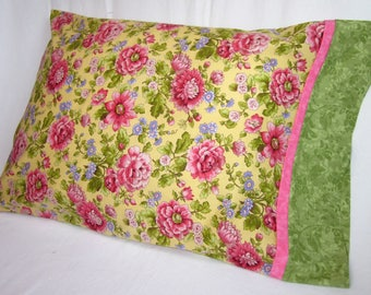 Pillowcase - Beautiful Floral Print Pillow Cover for a Feminine Touch. Fits Standard Size Pillows. Great for Gift Giving.