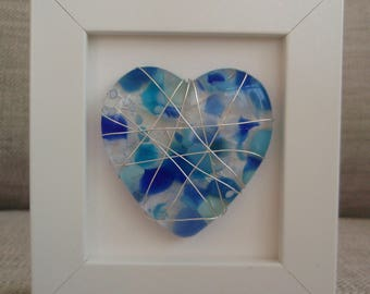 Silver plated wire wrapped blue fused glass love heart picture