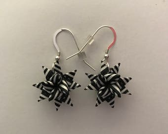 Moravian Star Earrings—Black & White Striped Ribbon