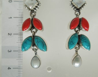 Sterling Silver Turquoise  Coral  & Pearl Earrings.