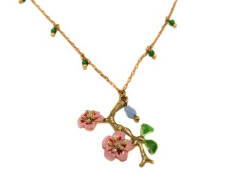 Sakura - hand painted enamel cherry blossom pendant with beads necklace