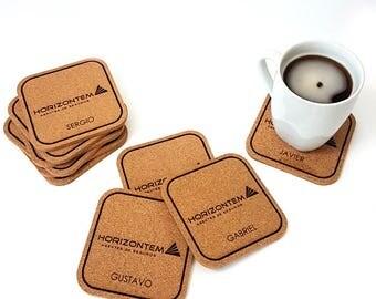Custom Logo Coasters, Corporate coasters, Engraved coasters, Cork Coasters, Corporate Gifts, Corporate coasters