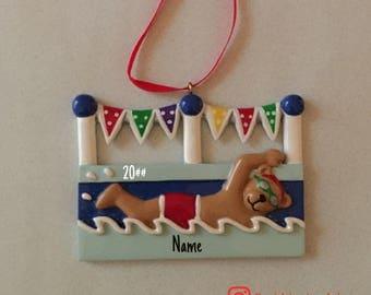 SALE! Swim Bear, Male Ornament, Personalized