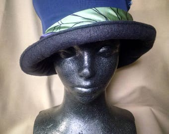 1920's hat, blue fabric hat, flapper hat, bucket hat