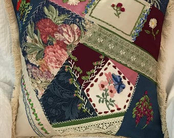 Reduced Price! Handmade original design Crazy quilt silk ribbon embroidery vintage lace embroidered silk and barkcloth pillow