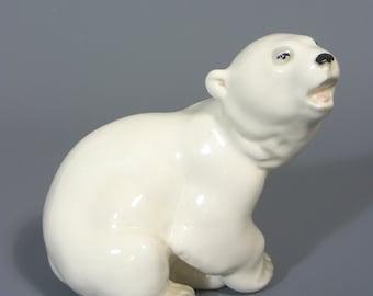 Polar Bear Figure, Vintage Lomonosov, Russian Porcelain, Polar Bear, Porcelain Polar Bear, Bear Figurine,  Ceramic Figure, Free UK Postage