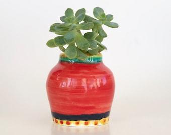 Mini Red Windowsill Vase Handmade