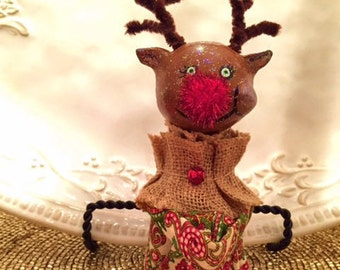 Paper clay, Rudolph the Red Nose Reindeer Christmas knee hugger doll