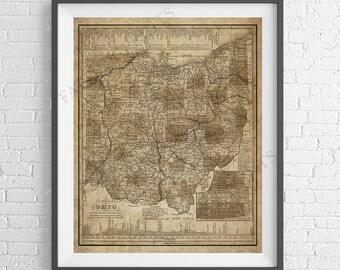 Ohio Wall Art ohio map print | etsy