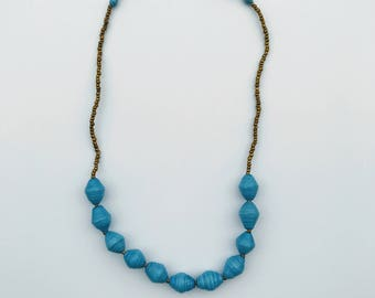 Light Blue Paper Bead Necklace