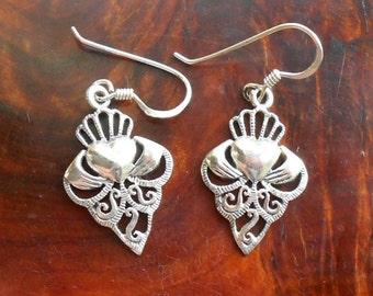 Vintage Irish Silver Claddagh Earrings, 925 Silver Drop Earrings, Celtic Design