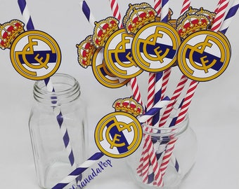 Real Madrid Paper Straws and Tags, Soccer Party Supplies, Real Madrid Tags Birthday, Straw Decoration, Madrid Table Decoration, Straw Decor