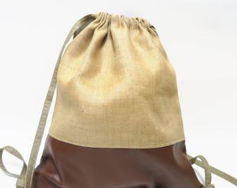 Backpack / bag, beige, coarse linen, Brown leatherette