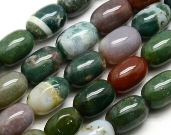 Natural Indian Agate 10x14mm Barrel Gemstone Loose Beads