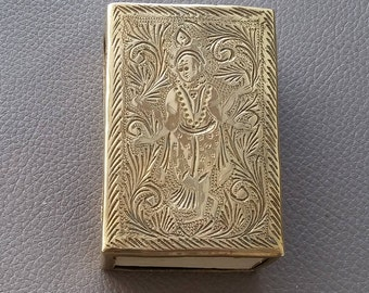 Vintage Brass, Match box holder, Engraved brass, Brass ornament, Brass match case, Matches, Tobacciana, Lighter, Match striker case