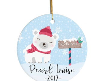 Ornament for Child, Personalized Ornament, 2017 Ornament, Christmas Ornament, Custom Ornament, Polar Bear, Ornament for Kids, Baby Ornament