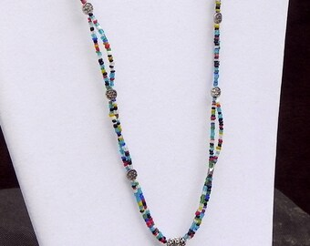 Agate and Seed Bead Boho Necklace
