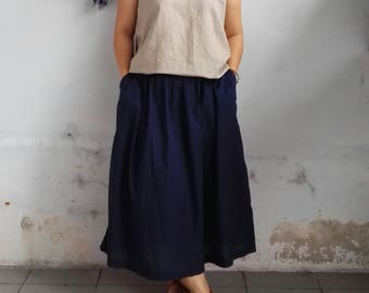 LInen Skirt / Linen Skirt with Side Pockets, Everyday Linen Skirt
