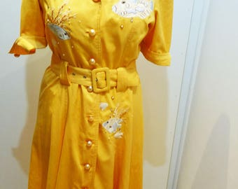 Vintage 1980 1990 embroidery dress