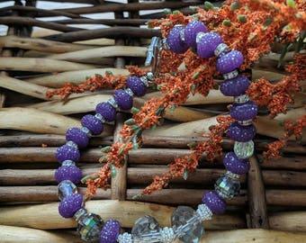 Purple Bead Bracelet, Purple Bracelet, Valentine's Gift For Her, Rondelle Bracelet, Purple Gifts, Purple Jewelry | Jewelry for a Cause