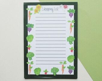 A6 Vegetable Print Shopping List Pad