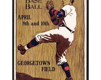 Pennsylvania Baseball Georgetown Poster Print Art - Vintage Print Art - Home Decor