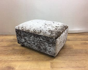 Champagne Crushed Velvet Footstool/Storage Box/Pouffe